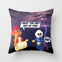beating the shit Throw Pillow