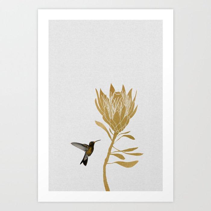 Hummingbird & Flower I Art Print