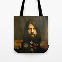 dave grohl Tote Bags featuring Dave Grohl - replaceface by replaceface