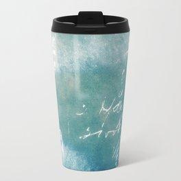 Blue Vintage Writing Cyanatope Print Travel Mug
