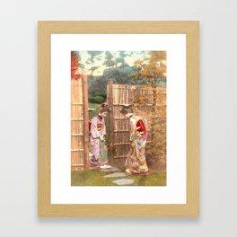 Japanese women walking on stepping stones Framed Art Print