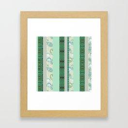 French Stripe Green/Grey Framed Art Print