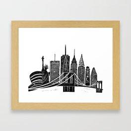 Linocut New York Framed Art Print