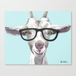 Goat with Glasses, Cute Farm Animal Canvas Print