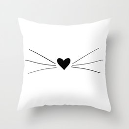 Cat Heart Nose & Whiskers Throw Pillow