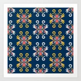 Damask Floral Pattern Art Print