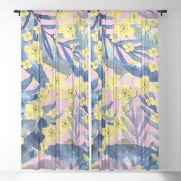 Tropical Blooms Sheer Curtain
