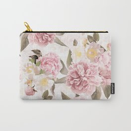 Vintage & Shabby Chic - Antique Sepia Summer Day Roses And Peonies Botanical Garden Carry-All Pouch