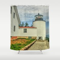 maine Shower Curtains featuring Maine Lighthouse by Raymond Earley
