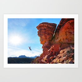 Rock Climber Swinging at Red Rock Canyon Art Print