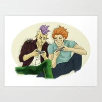 playstation Art Prints featuring Two Killers and a Playstation by dedfox