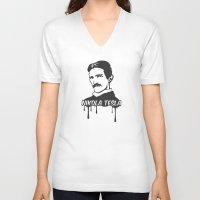 tesla V-neck T-shirts featuring Nikola Tesla  by badbugs_art