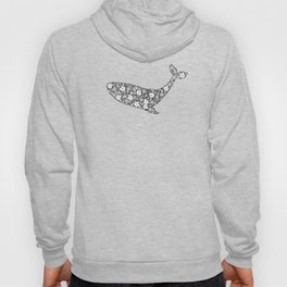 Silhouette of whale with floral ornament Hoody