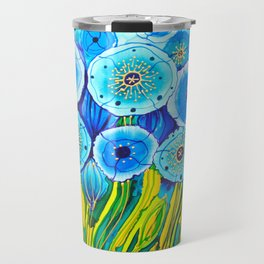 Field of Blue Poppies #1 Travel Mug