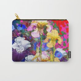 Decorative Spring  Garden Yellow & Pink Iris in Blue-Red Carry-All Pouch