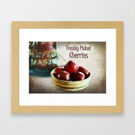 Freshly Picked Cherries Framed Art Print