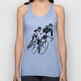 Bicycle racers into the curve... Unisex Tank Top
