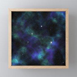 Blue Green Galaxy Framed Mini Art Print