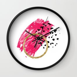 Abstract Black, Pink, & Faux Gold Brushstrokes Wall Clock