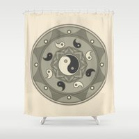 yin yang Shower Curtains featuring Yin Yang by TypicalArtGuy