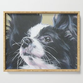 Papillon Dog art portrait from an original painting by L.A.Shepard Serving Tray
