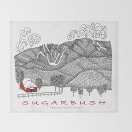 Sugarbush Vermont Serious Fun for Skiers- Zentangle Illustration Throw Blanket