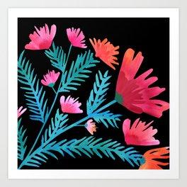Dark Tropical Floral Art Print
