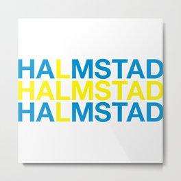 HALMSTAD Swedish Flag Metal Print