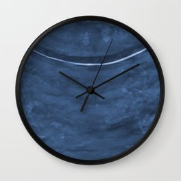 Cohesion Watercolor Print in Navy Blue Wall Clock