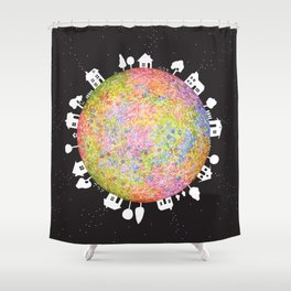 Flower Planet, watercolor painting house Shower Curtain