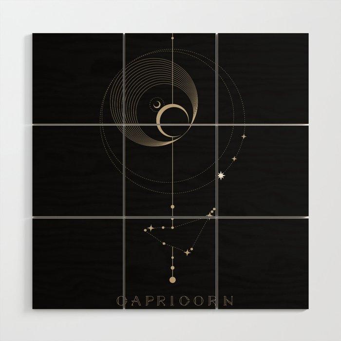 Capricorn Zodiac Constellation Wood Wall Art by cafelab   Society6