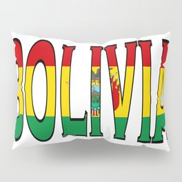 Bolivia Font With Bolivian Flag Pillow Sham