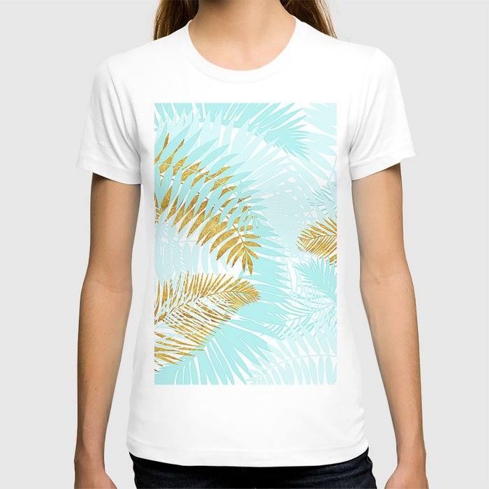 Aloha - Tropical Palm Leaves and Gold Metal Foil Leaf Garden T-shirt