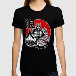 Skeleton Samurai Warrior with Ronin Japanese Lettering T-shirt