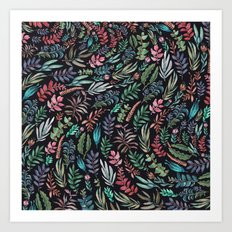water color garden at nigth Art Print