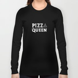 Pizza Queen White on Black Long Sleeve T-shirt