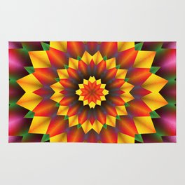 Abstract colorful flowers Mandala Rug