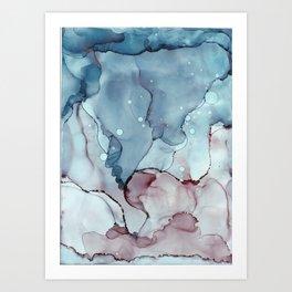 Blue Ink Mist Art Print