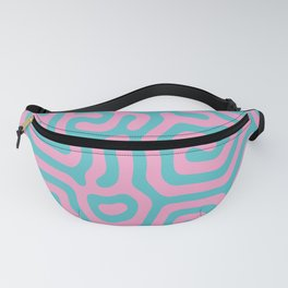 Pink and blue thick large geometrical curved labyrinth lines for home decoration. Fanny Pack