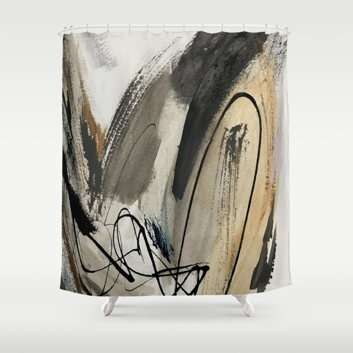 Drift [5]: a neutral abstract mixed media piece in black, white, gray, brown Duschvorhang
