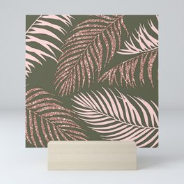 Chic Military Green Rose Gold Palm Fronds Mini Art Print