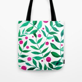 Watercolor berries and branches - pink and green Tote Bag
