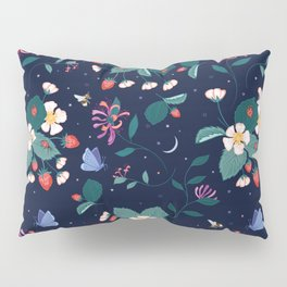 Midnight Strawberry Patch Pattern Pillow Sham