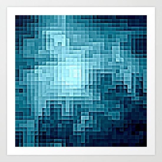 Nebula Pixels Steel Teal Blue Art Print