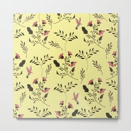 Rose Hummingbirds and Pink Flowers in Butter Yellow Floral Pattern with Pink Flowers and Bark Brown Metal Print