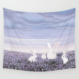 white rabbits and purple flowers Wall Tapestry