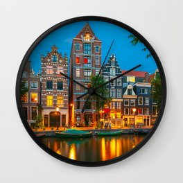 Amsterdam Canal With Dutch Houses at Night Wall Clock
