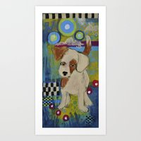 jack russell Art Prints featuring jack russell by whimsyville