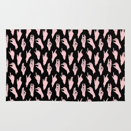 pink n black swipes Rug