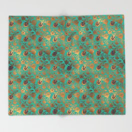 Damask Patina Turquoise Gold Foil Metallic Throw Blanket